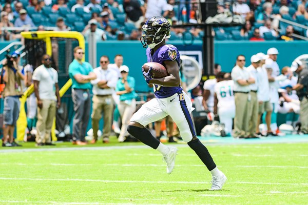 Baltimore Ravens wide receiver Marquise Brown (15) runs in for a touchdown | Baltimore Ravens vs. Miami Dolphins | September 8, 2019 | Hard Rock Stadium