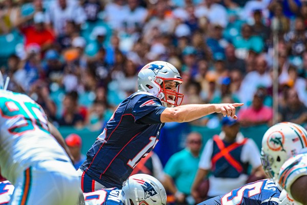 New England Patriots quarterback Tom Brady #12 calls out the defense | New England Patriots vs. Miami Dolphins | September 15, 2019 | Hard Rock Stadium
