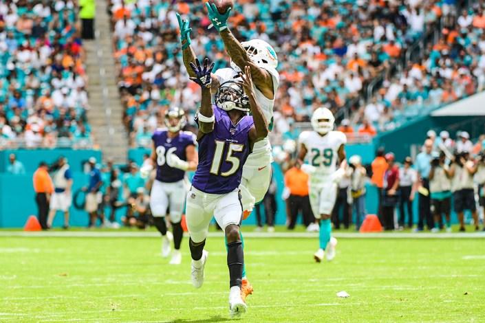 Miami Dolphins cornerback Xavien Howard (25) breaks up a pass | Baltimore Ravens vs. Miami Dolphins | September 8, 2019 | Hard Rock Stadium