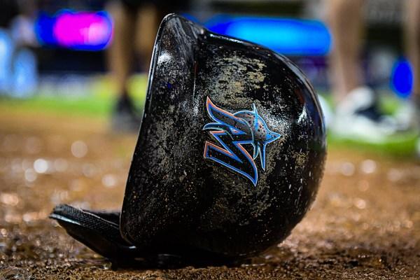 Miami Marlins third baseman Martin Prado #14 helmet