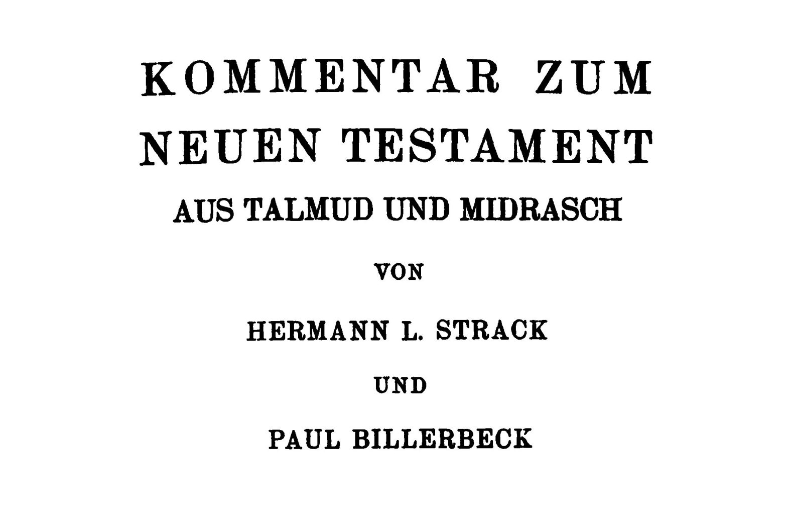 Strack and Billerbeck partial title page