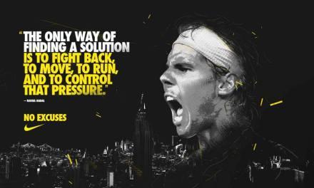 «la seule façon de trouver une solution est de se battre, de bouger, de courir et de contrôler cette pression» – Pas d'excuses – Rafa Nadal