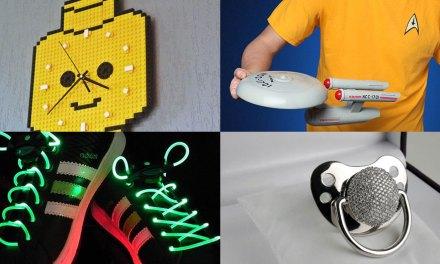 Les gadgets geek de la semaine : une horloge LEGO, des lacets LED, une tétine en diamant…