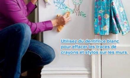 Astuce pour enlever traces de crayons sur le mur de la chambre de vos enfants.