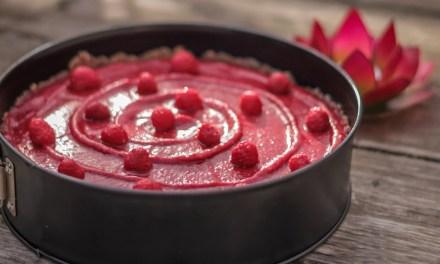 Recette : tarte à la framboise 100% crue et végane
