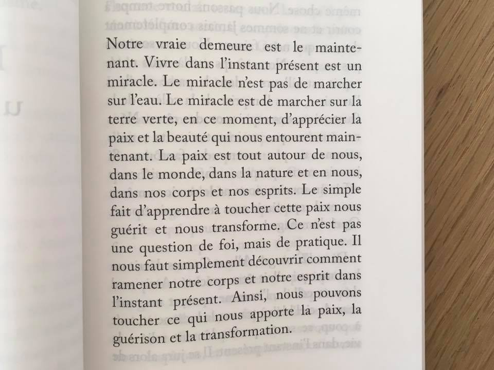 Extrait du livre «la plénitude de l'instant» de Thich Nhat Hanh.