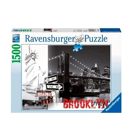 Puzzle 1500 B/N Puente Brookling + Estatua Libertad – Ravensburger