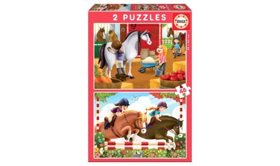 Puzzle 2×48 Cuidando Caballos – Educa