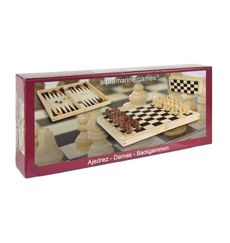 Conjunto Ajedrez-Damas-Backgammon Plegable Madera Clara
