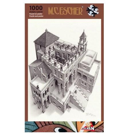 Puzzle 1000 B/N ESCHER – Subiendo y Bajando – Puzzelman