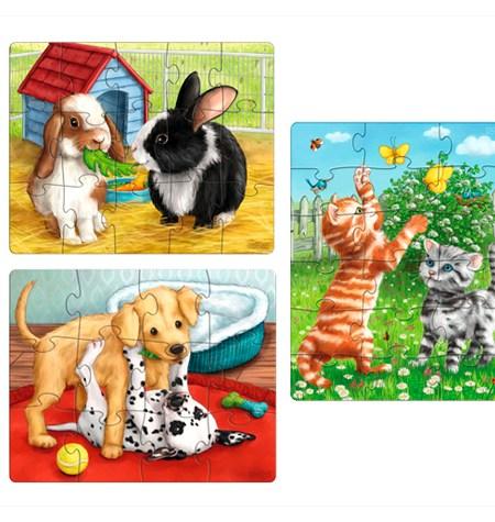 Puzzle 12, 15, 18  Gatos, Perros, Conejos – Haba