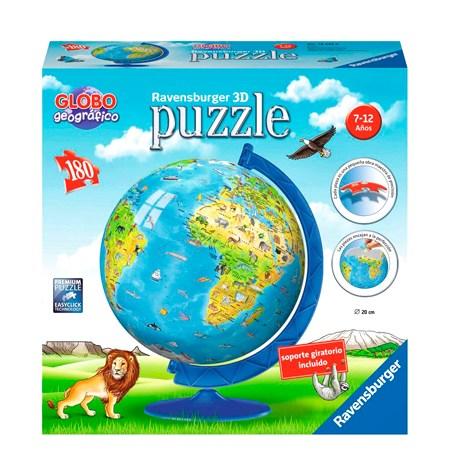 Puzzle Bola – Piezas de Plástico – 180 Mapamundi con Animales