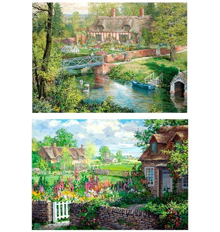 Puzzle 2×500 Romantic Countryside Cottages – Falcon