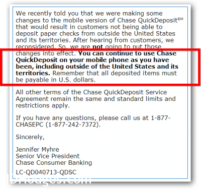 Quick Deposit message from Chase