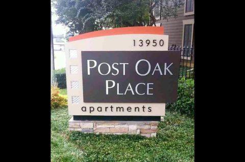 Post Oak apartments ID sign