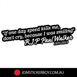 JDM RIP Paul Walker Car Sticker Decal