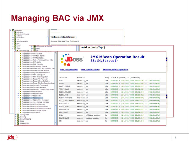 Managing BAC via JMX