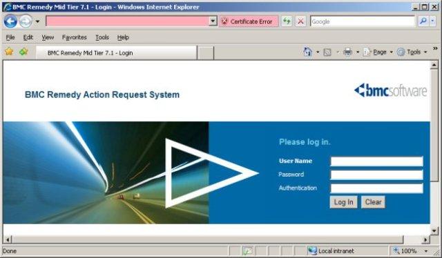 BMC Remedy Mid-Tier 7.1 login page