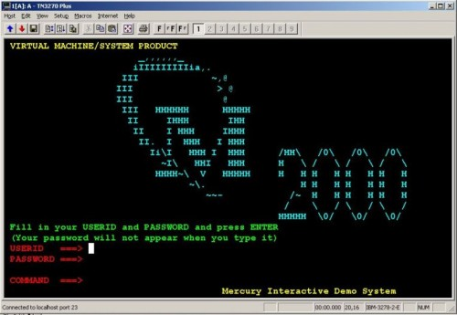 View of emulator connected to the Mercury Demo Application