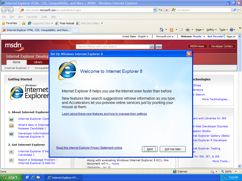 Microsoft Virtual PC 2007 - Running IE8