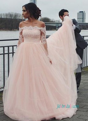 PD18067 Soft pink off the shoulder tulle princess wedding dress   PD18067 Soft pink off the shoulder tulle princess wedding dress