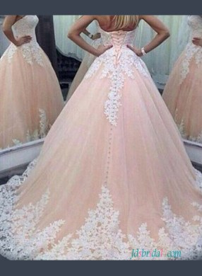 H1249 Blush Sweetheart princess pink colored ball gown wedding dress   H1249 Blush Sweetheart princess pink colored ball gown wedding dress