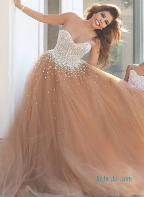 H0951 Unique rose brown blush tulle wedding dress prom gown   H0951 Unique rose brown blush tulle wedding dress prom gown