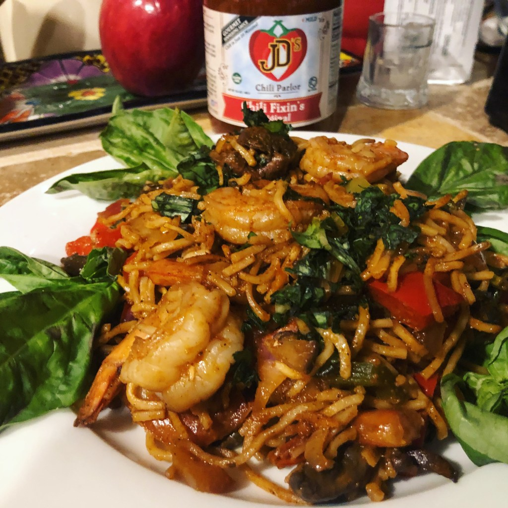 JD's Chilified Tequila Lime shrimp with noodles