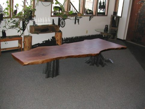 Coffee table with salvaged urban hardwood.