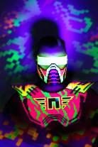 neon invader pixel