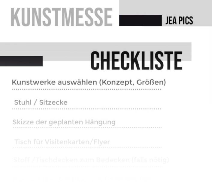 Kunstmessse Checkliste hier herunterladen!
