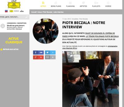 Interview Club Deutshe Grammophon de Piotr Beczala - Photographe Jean-Baptiste Millot