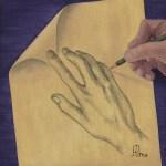 Tableau Mains au coin replié