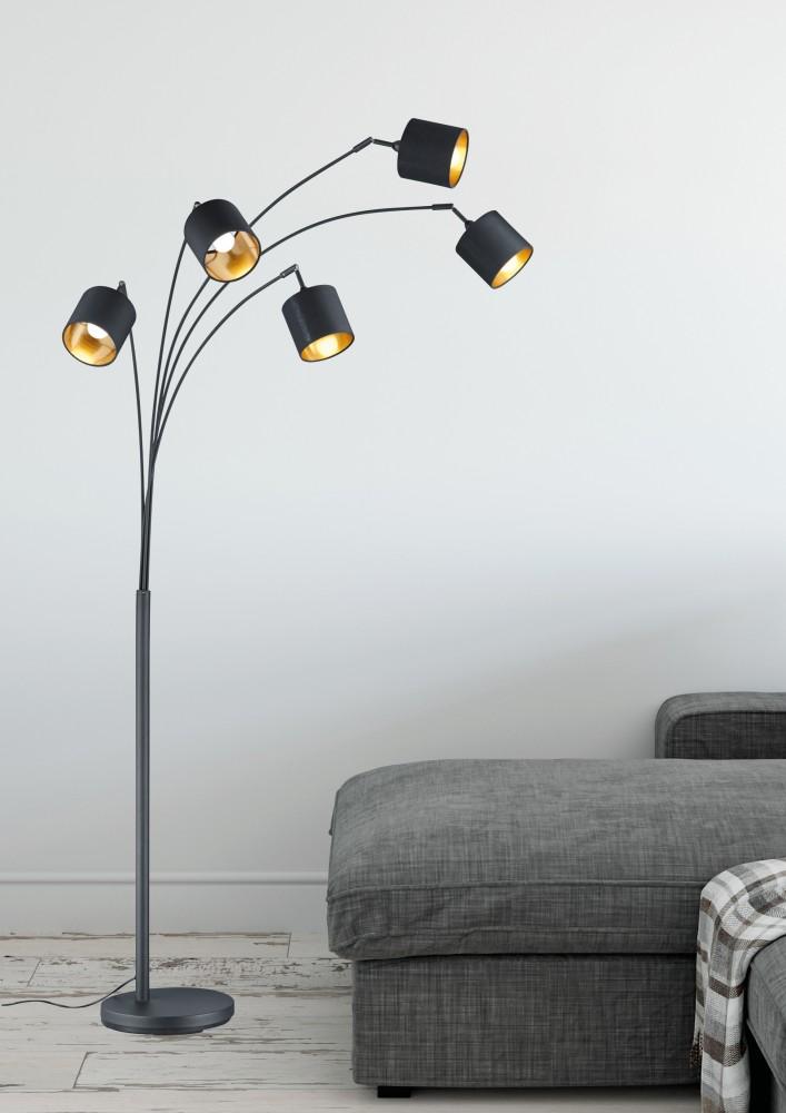 lampadaire blacky noir et or 5x40w