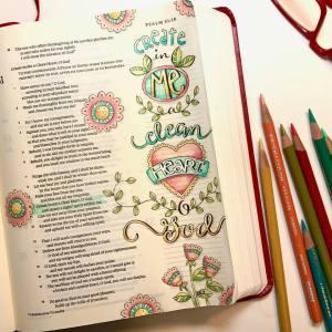 Scripture art Psalm 51 Karla Dornacher