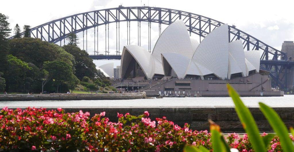 Vanaf de Botanic Gardens in Sydney het Operha House en een gedeelte van de Harbour Bridge