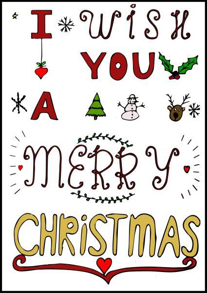 Gedigitaliseerde handlettering met daarop de tekst i wish you a merry christmas