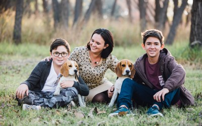 Panaino family and their dogs at Delta Park