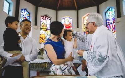 Isla's christening at St Martin de Porres Catholic Church