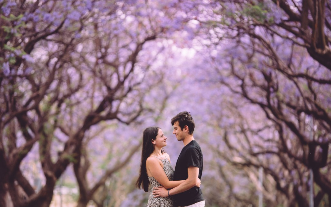 A jacaranda shoot with Brad and Leigh
