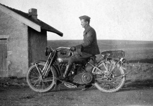 American soldier on a Harley Davidson motorbike c. 1917