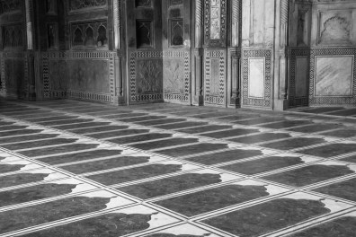The Mosque at the Taj Mahal continues to be used for worship; this is why the Taj is closed to visitors on Fridays. Here in the prayer space, you can see the spaces for each worshipper marked out on the floor.
