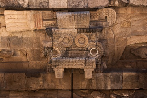 Tlaloc is thought to be one of the primary deities of the civilization at Teotihuacan, and is associated with rain, water, and thunder and lightning. He is often depicted with 'goggle' eyes and fangs.