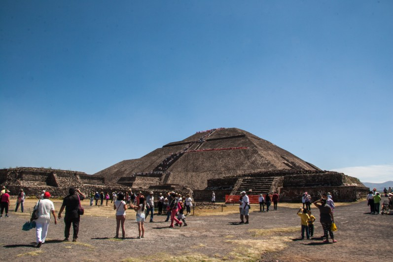 Visitors are allowed to climb to the top of the Pyramid of the Sun.