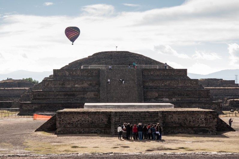 The Citadel area, which includes the Temple of Quetzalcoatl, is directly across the Avenue of the Dead from the main entrance to the site. To reach the temple, you must climb up the first 'slope and panel' structure to where the railings are, then down again to view the temple.