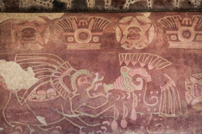 The color palette is much richer in these murals, and the symbolism is more elaborate, including snails, concha shells, raindrops, and spiral floral ornaments.