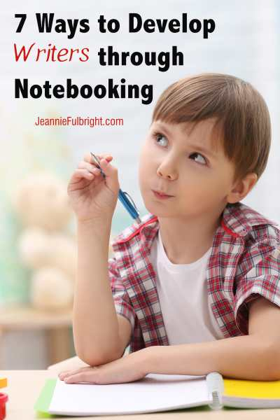 Boy thinking about writing and notebooking