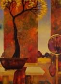"""Série """"Intérieurs"""": Intérieur à l'arbre d'or (huile sur toile 100 x 73 cm)"""