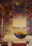 """Série """"Intérieur"""" : intérieur au paravent (huile sur toile 100 x 73 cm)"""