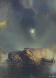 L'île, hommage à Arnold Böcklin (huile sur toile 46 x 33 cm)